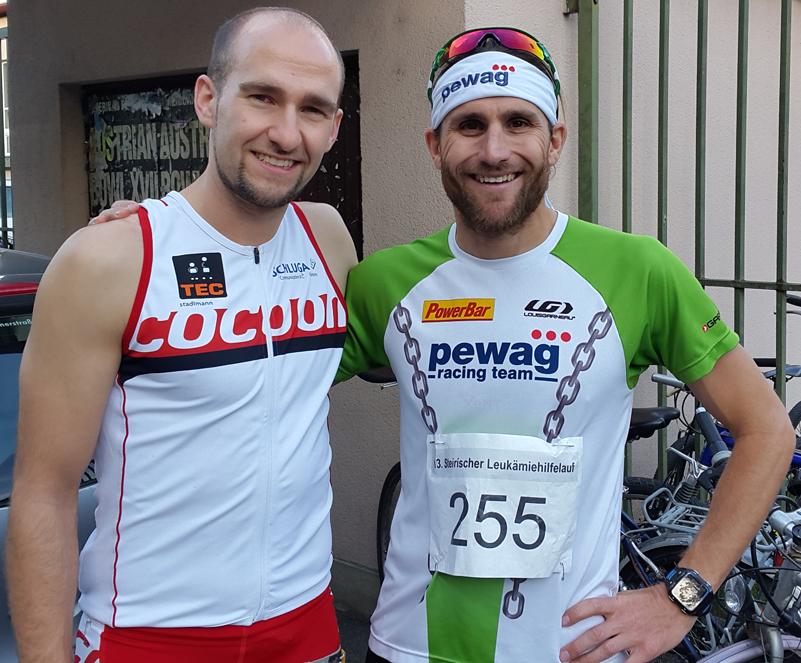 "Vor dem Start des 13. Steirischen Leukämiehilfelaufs mit Faris Al-Sultan vom <a href=""http://pewagracingteam.com/de/"" target=""_blank"">Pewag Racing Team</a>."